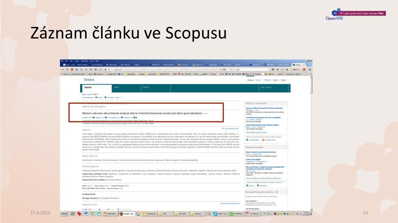 Záznam článku ve Scopusu 17.6.2015Schůzka vedoucích VŠ knihoven13