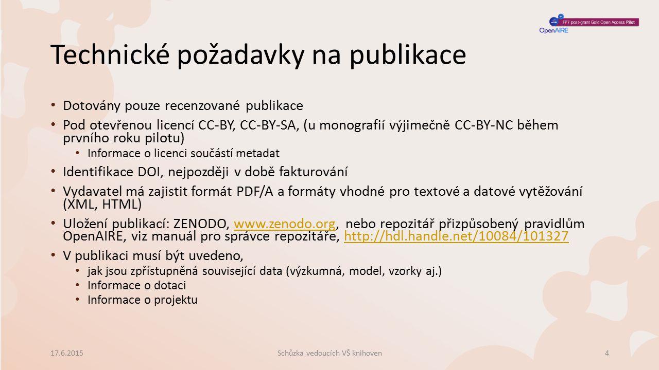 Technické požadavky na publikace Schůzka vedoucích VŠ knihoven17.6.20154 Dotovány pouze recenzované publikace Pod otevřenou licencí CC-BY, CC-BY-SA, (u monografií výjimečně CC-BY-NC během prvního roku pilotu) Informace o licenci součástí metadat Identifikace DOI, nejpozději v době fakturování Vydavatel má zajistit formát PDF/A a formáty vhodné pro textové a datové vytěžování (XML, HTML) Uložení publikací: ZENODO, www.zenodo.org, nebo repozitář přizpůsobený pravidlům OpenAIRE, viz manuál pro správce repozitáře, http://hdl.handle.net/10084/101327www.zenodo.orghttp://hdl.handle.net/10084/101327 V publikaci musí být uvedeno, jak jsou zpřístupněná související data (výzkumná, model, vzorky aj.) Informace o dotaci Informace o projektu
