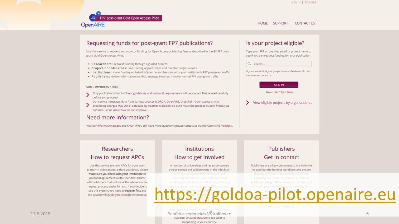 https://goldoa-pilot.openaire.eu 17.6.2015Schůzka vedoucích VŠ knihoven6