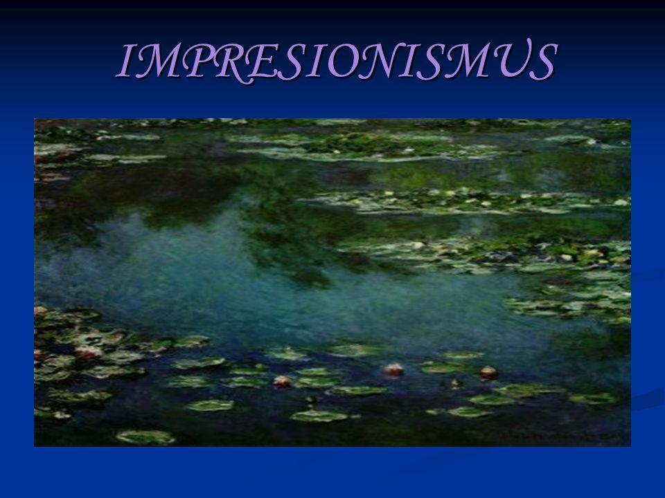 """Impresionismus Původ slova z franc.slova """"l´impression = dojem Původ slova z franc.slova """"l´impression = dojem Jde o nejvěrnější zachycení viděné skutečnosti – soustředění se se na daný okamžik Jde o nejvěrnější zachycení viděné skutečnosti – soustředění se se na daný okamžik Tento okamžik je vnímán jako světelná záležitost, jediné světlo je schopno určitou chvíli oživit Tento okamžik je vnímán jako světelná záležitost, jediné světlo je schopno určitou chvíli oživit Jde o barevnou skvrnu – zachytí vjem – neexistuje žádná ostrá kontura, vše splývá Jde o barevnou skvrnu – zachytí vjem – neexistuje žádná ostrá kontura, vše splývá"""