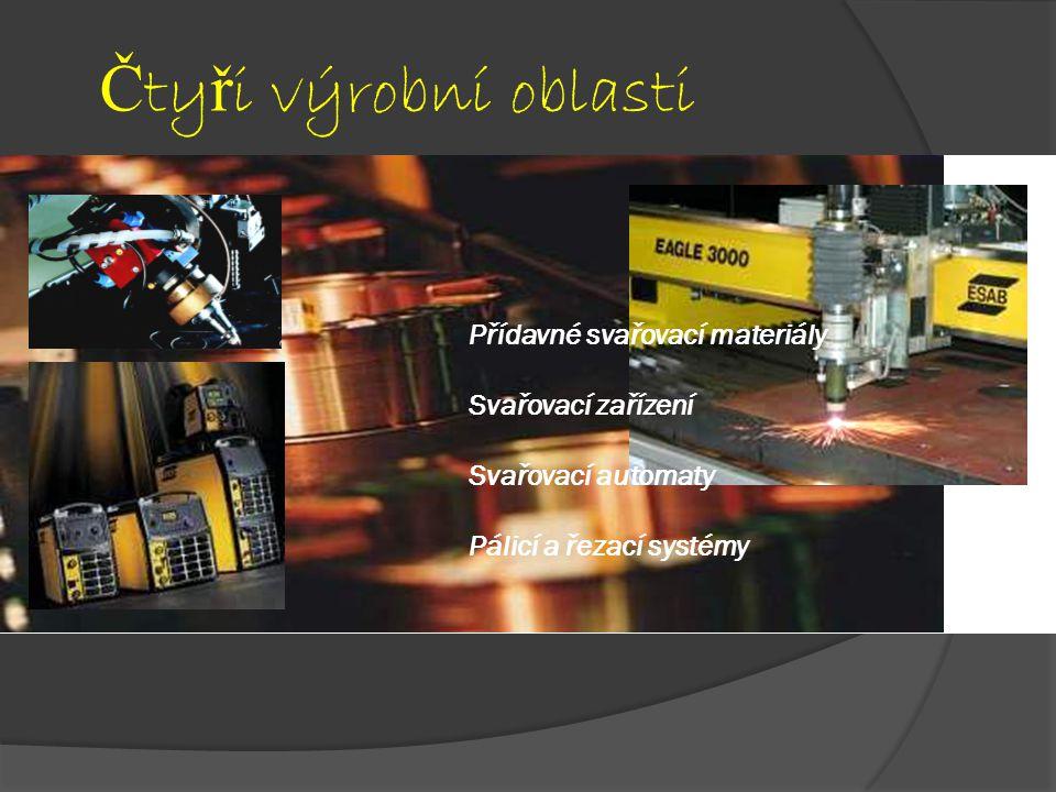 Č ty ř i výrobní oblasti Přídavné svařovací materiály Svařovací zařízení Svařovací automaty Pálicí a řezací systémy