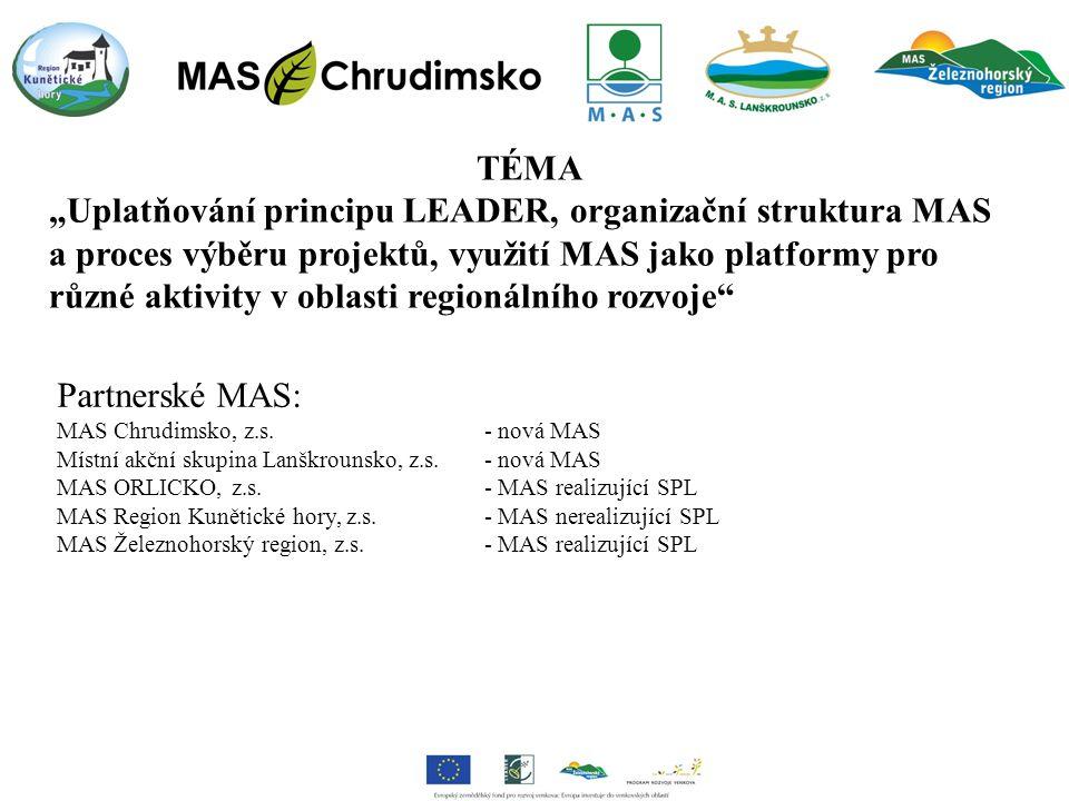 """TÉMA """"Uplatňování principu LEADER, organizační struktura MAS a proces výběru projektů, využití MAS jako platformy pro různé aktivity v oblasti regionálního rozvoje Partnerské MAS: MAS Chrudimsko, z.s."""