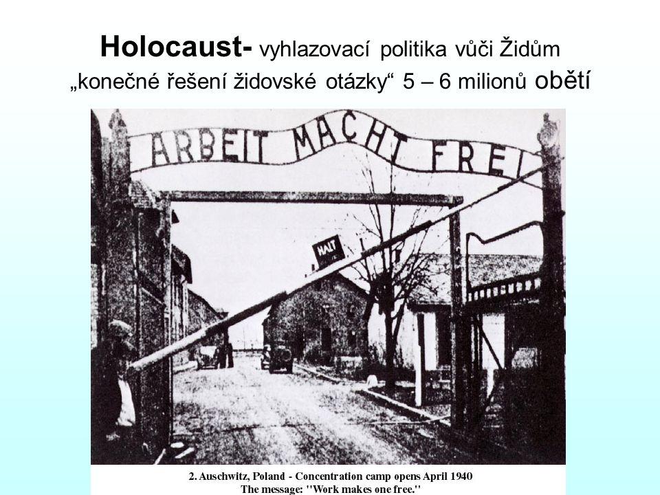 """Holocaust- vyhlazovací politika vůči Židům """"konečné řešení židovské otázky 5 – 6 milionů obětí"""