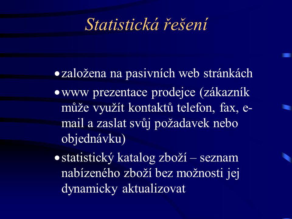 Statistická řešení  založena na pasivních web stránkách  www prezentace prodejce (zákazník může využít kontaktů telefon, fax, e- mail a zaslat svůj požadavek nebo objednávku)  statistický katalog zboží – seznam nabízeného zboží bez možnosti jej dynamicky aktualizovat