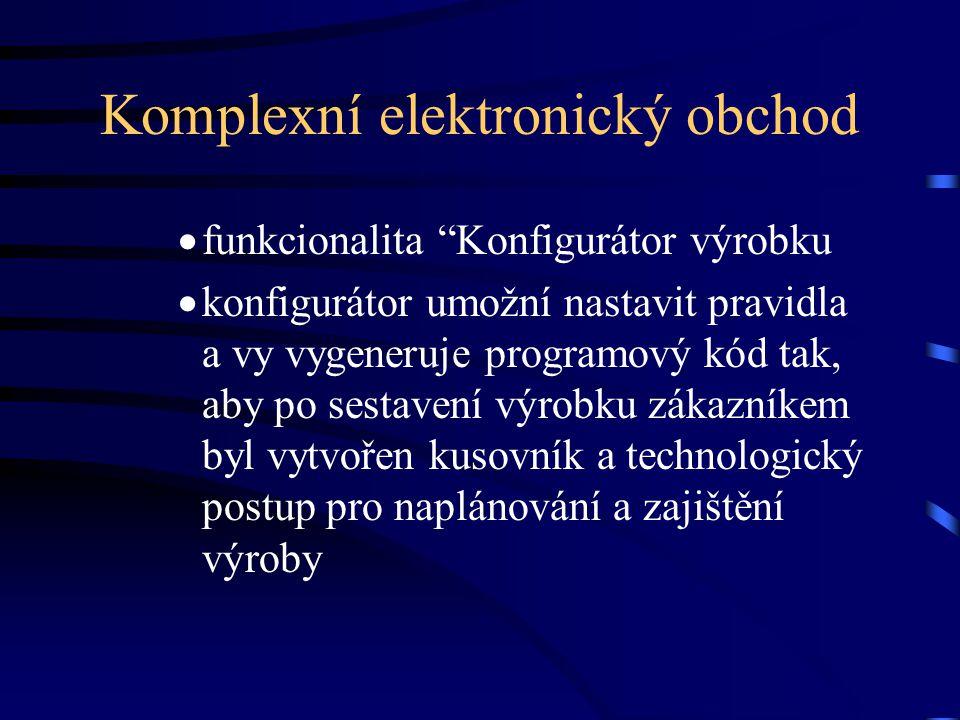 Komplexní elektronický obchod  funkcionalita Konfigurátor výrobku  konfigurátor umožní nastavit pravidla a vy vygeneruje programový kód tak, aby po sestavení výrobku zákazníkem byl vytvořen kusovník a technologický postup pro naplánování a zajištění výroby