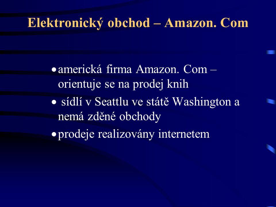 Elektronický obchod – Amazon. Com  americká firma Amazon. Com – orientuje se na prodej knih  sídlí v Seattlu ve státě Washington a nemá zděné obchod