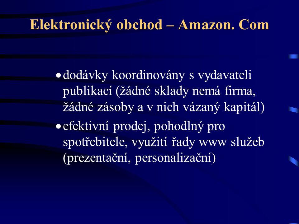 Elektronický obchod – Amazon. Com  dodávky koordinovány s vydavateli publikací (žádné sklady nemá firma, žádné zásoby a v nich vázaný kapitál)  efek