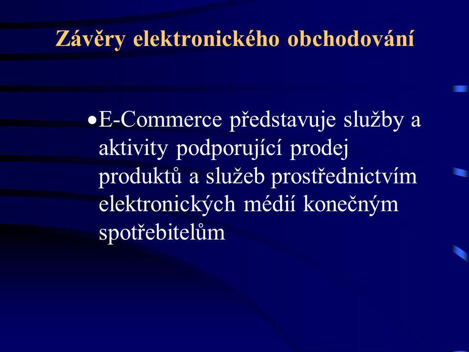 Závěry elektronického obchodování  E-Commerce představuje služby a aktivity podporující prodej produktů a služeb prostřednictvím elektronických médií konečným spotřebitelům