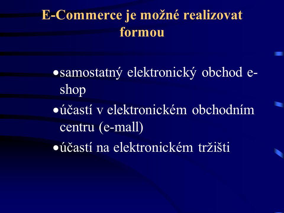 E-Commerce je možné realizovat formou  samostatný elektronický obchod e- shop  účastí v elektronickém obchodním centru (e-mall)  účastí na elektronickém tržišti