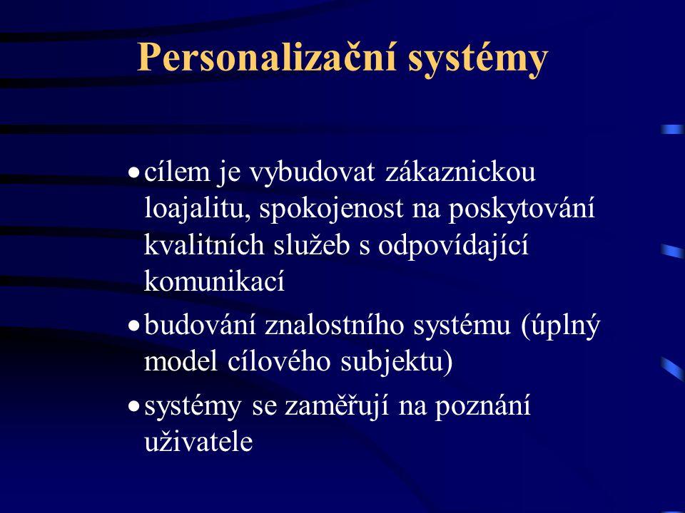 Personalizační systémy  cílem je vybudovat zákaznickou loajalitu, spokojenost na poskytování kvalitních služeb s odpovídající komunikací  budování znalostního systému (úplný model cílového subjektu)  systémy se zaměřují na poznání uživatele