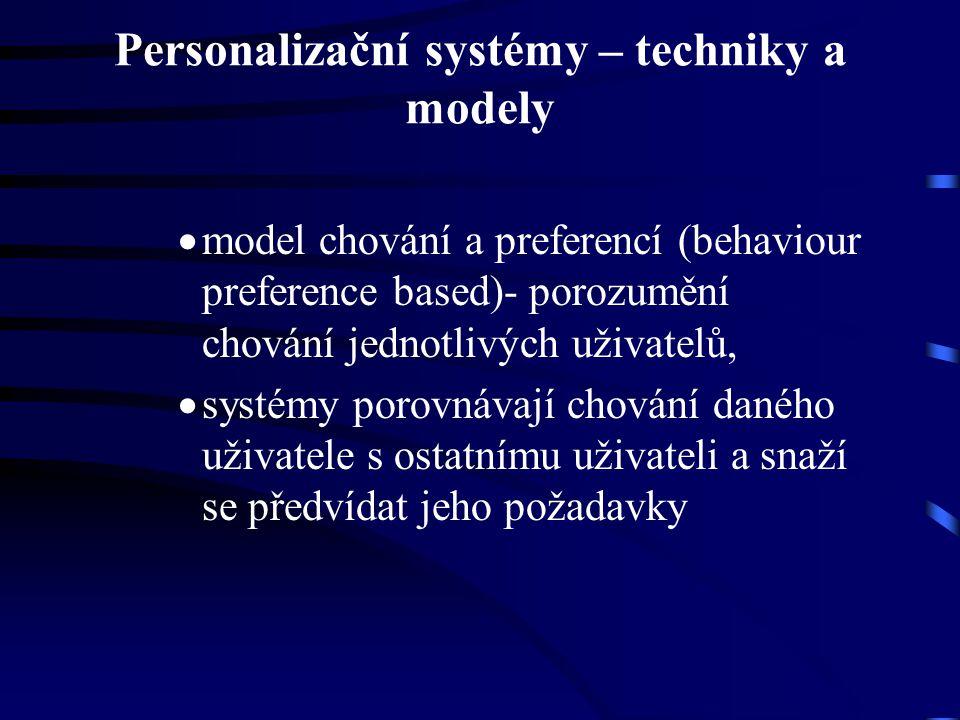 Personalizační systémy – techniky a modely  model chování a preferencí (behaviour preference based)- porozumění chování jednotlivých uživatelů,  systémy porovnávají chování daného uživatele s ostatnímu uživateli a snaží se předvídat jeho požadavky