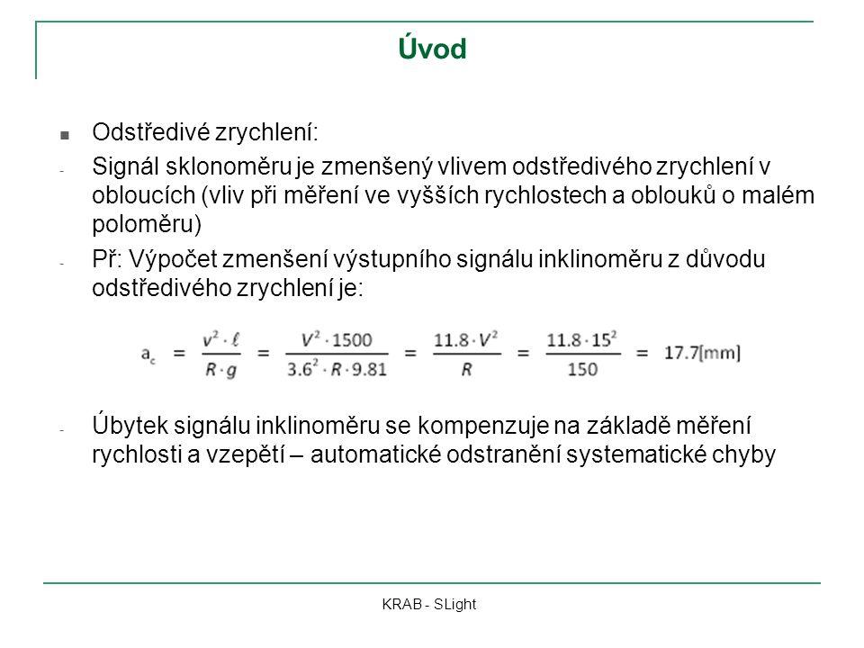 Úvod Odstředivé zrychlení: - Signál sklonoměru je zmenšený vlivem odstředivého zrychlení v obloucích (vliv při měření ve vyšších rychlostech a oblouků