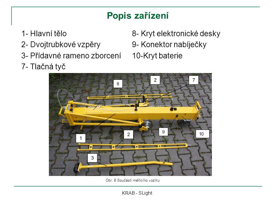 Popis zařízení 1- Hlavní tělo 2- Dvojtrubkové vzpěry 3- Přídavné rameno zborcení 7- Tlačná tyč KRAB - SLight Obr. 8 Součásti měřícího vozíku 8- Kryt e