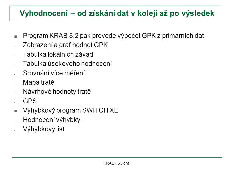 Vyhodnocení – od získání dat v koleji až po výsledek KRAB - SLight Program KRAB 8.2 pak provede výpočet GPK z primárních dat - Zobrazení a graf hodnot GPK - Tabulka lokálních závad - Tabulka úsekového hodnocení - Srovnání více měření - Mapa tratě - Návrhové hodnoty tratě - GPS Výhybkový program SWITCH XE - Hodnocení výhybky - Výhybkový list
