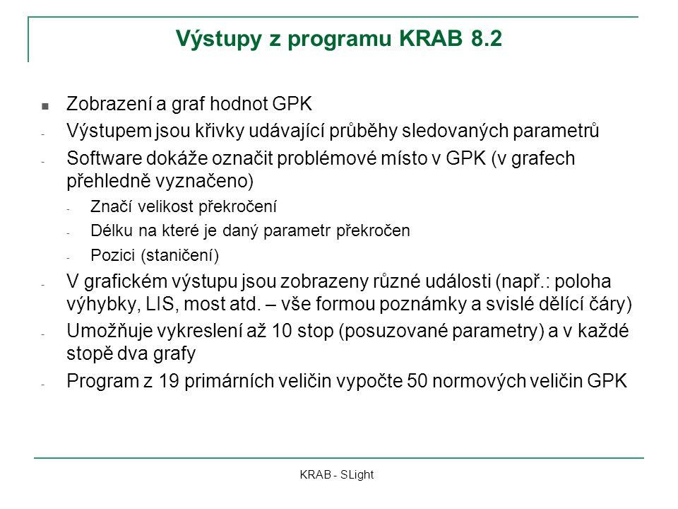 Výstupy z programu KRAB 8.2 KRAB - SLight Zobrazení a graf hodnot GPK - Výstupem jsou křivky udávající průběhy sledovaných parametrů - Software dokáže označit problémové místo v GPK (v grafech přehledně vyznačeno) - Značí velikost překročení - Délku na které je daný parametr překročen - Pozici (staničení) - V grafickém výstupu jsou zobrazeny různé události (např.: poloha výhybky, LIS, most atd.