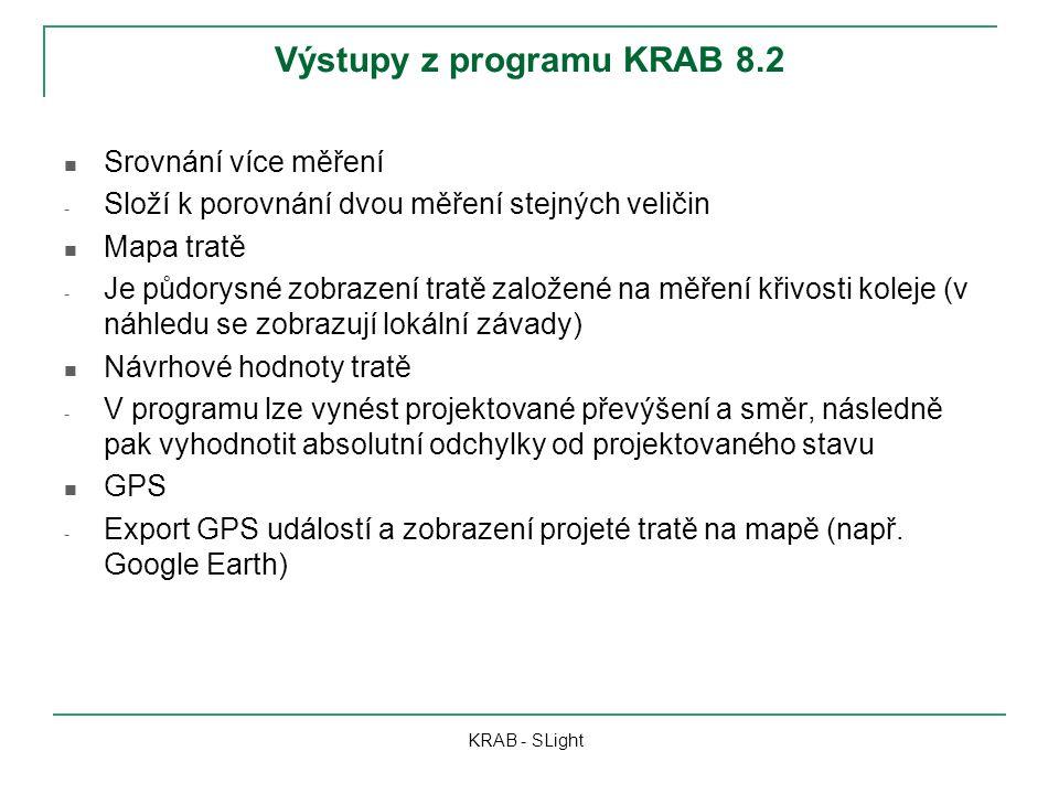 Výstupy z programu KRAB 8.2 KRAB - SLight Srovnání více měření - Složí k porovnání dvou měření stejných veličin Mapa tratě - Je půdorysné zobrazení tratě založené na měření křivosti koleje (v náhledu se zobrazují lokální závady) Návrhové hodnoty tratě - V programu lze vynést projektované převýšení a směr, následně pak vyhodnotit absolutní odchylky od projektovaného stavu GPS - Export GPS událostí a zobrazení projeté tratě na mapě (např.
