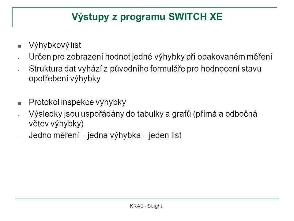 Výstupy z programu SWITCH XE KRAB - SLight Výhybkový list - Určen pro zobrazení hodnot jedné výhybky při opakovaném měření - Struktura dat vyhází z pů