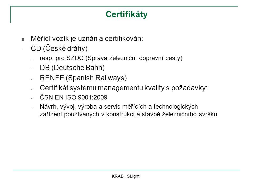 Certifikáty Měřící vozík je uznán a certifikován: - ČD (České dráhy) - resp. pro SŽDC (Správa železniční dopravní cesty) - DB (Deutsche Bahn) - RENFE