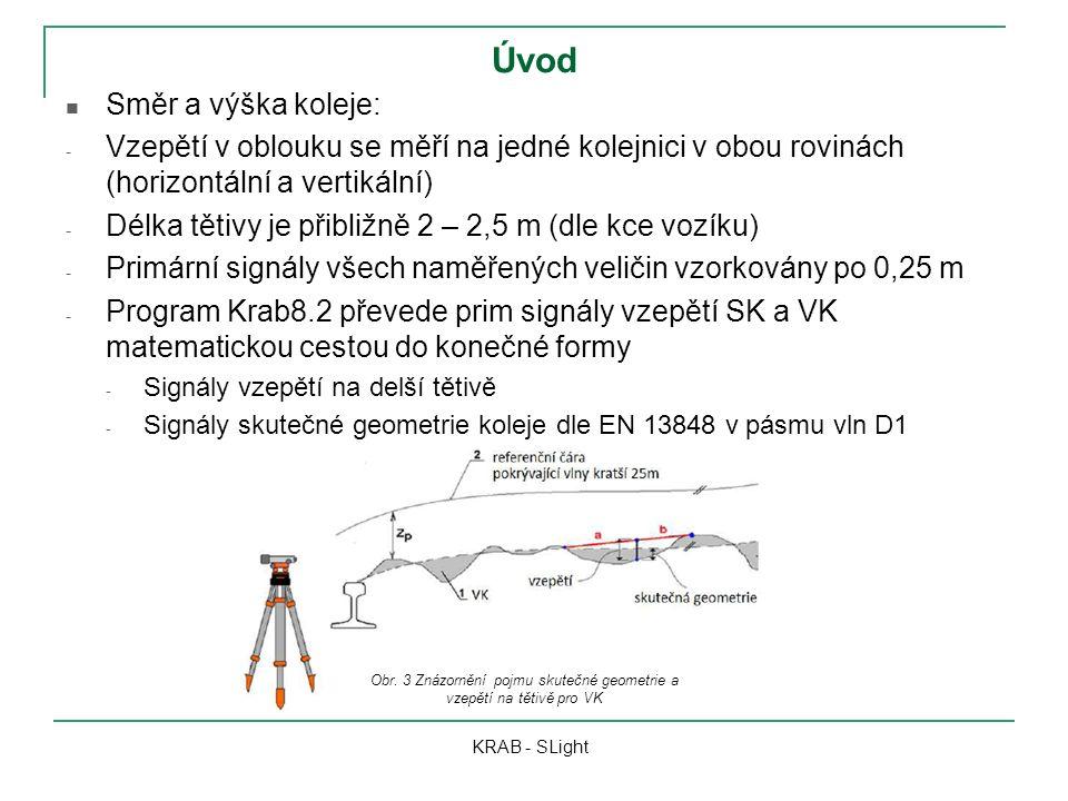 Úvod KRAB - SLight Směr a výška koleje: - Vzepětí v oblouku se měří na jedné kolejnici v obou rovinách (horizontální a vertikální) - Délka tětivy je přibližně 2 – 2,5 m (dle kce vozíku) - Primární signály všech naměřených veličin vzorkovány po 0,25 m - Program Krab8.2 převede prim signály vzepětí SK a VK matematickou cestou do konečné formy - Signály vzepětí na delší tětivě - Signály skutečné geometrie koleje dle EN 13848 v pásmu vln D1 Obr.