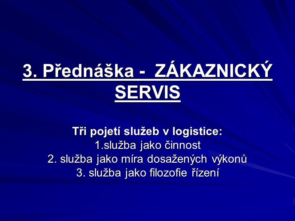 3. Přednáška - ZÁKAZNICKÝ SERVIS Tři pojetí služeb v logistice: 1.služba jako činnost 2. služba jako míra dosažených výkonů 3. služba jako filozofie ř