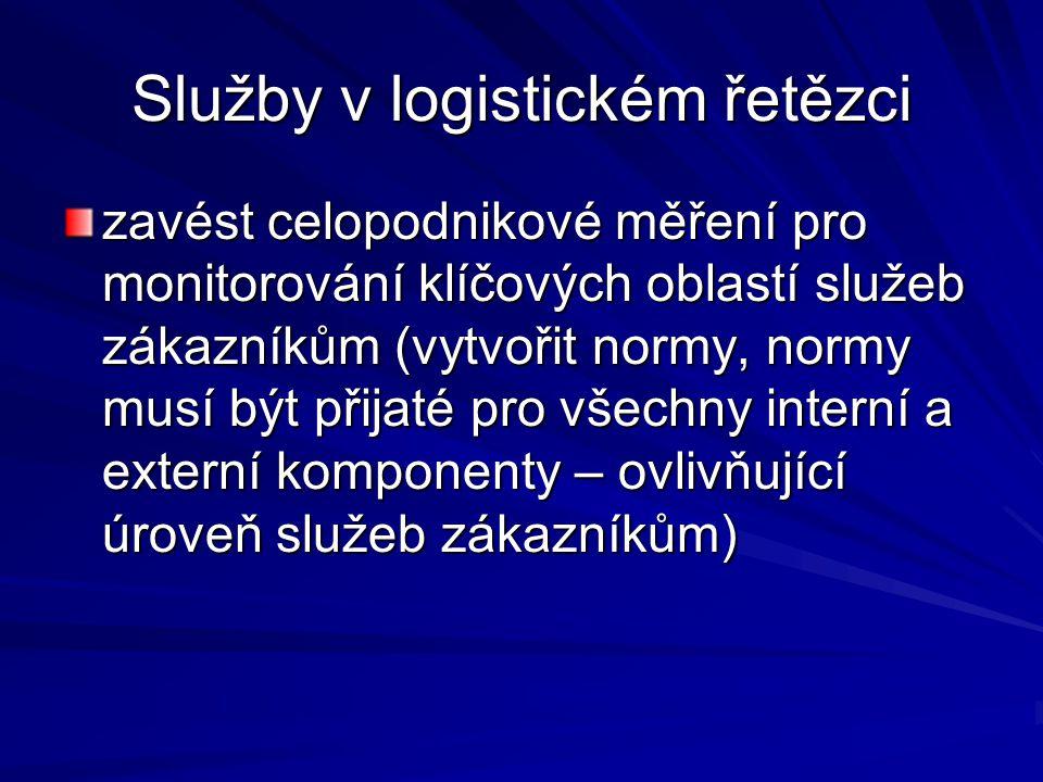 Služby v logistickém řetězci zavést celopodnikové měření pro monitorování klíčových oblastí služeb zákazníkům (vytvořit normy, normy musí být přijaté