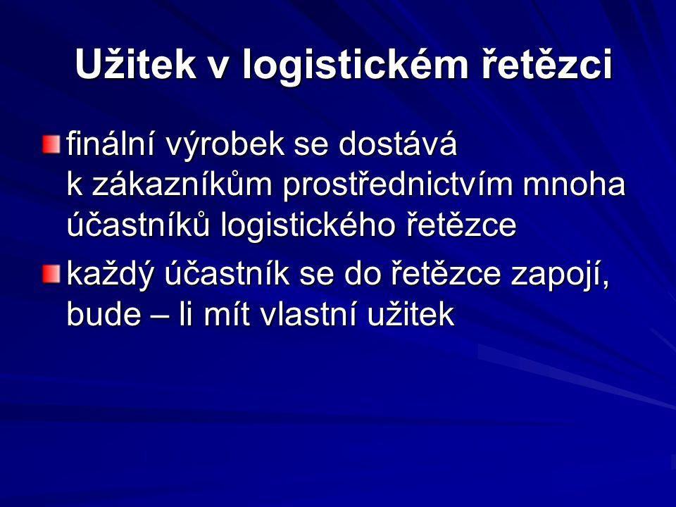 Užitek v logistickém řetězci Užitek v logistickém řetězci finální výrobek se dostává k zákazníkům prostřednictvím mnoha účastníků logistického řetězce