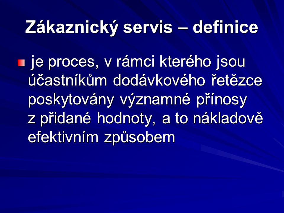 Zákaznický servis – definice je proces, v rámci kterého jsou účastníkům dodávkového řetězce poskytovány významné přínosy z přidané hodnoty, a to nákla
