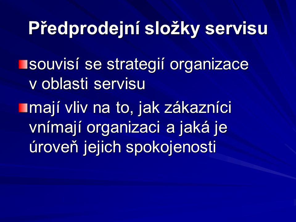 Předprodejní složky servisu souvisí se strategií organizace v oblasti servisu mají vliv na to, jak zákazníci vnímají organizaci a jaká je úroveň jejic