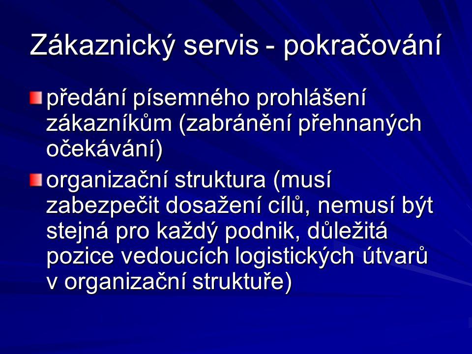 Zákaznický servis - pokračování předání písemného prohlášení zákazníkům (zabránění přehnaných očekávání) organizační struktura (musí zabezpečit dosaže