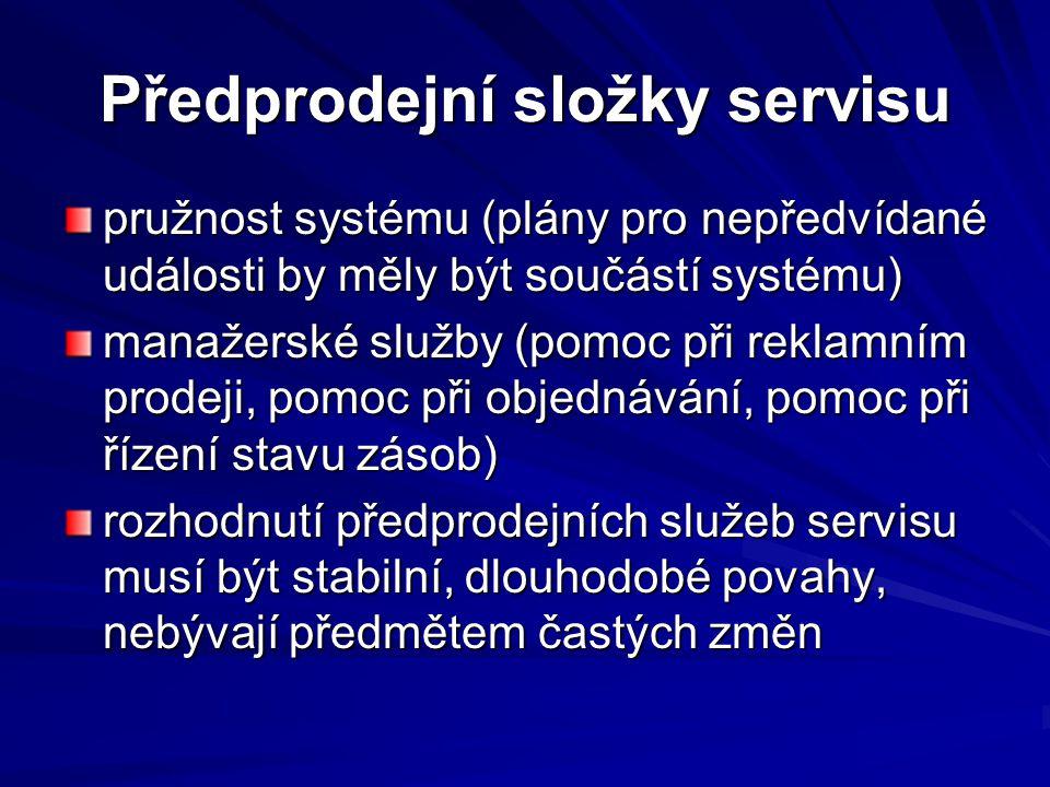 Předprodejní složky servisu pružnost systému (plány pro nepředvídané události by měly být součástí systému) manažerské služby (pomoc při reklamním pro