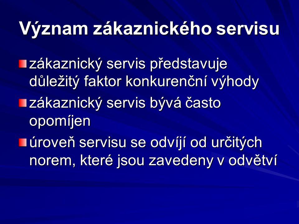 Význam zákaznického servisu zákaznický servis představuje důležitý faktor konkurenční výhody zákaznický servis bývá často opomíjen úroveň servisu se o