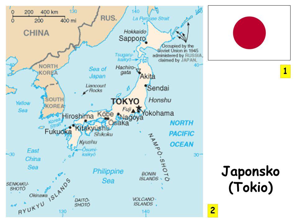 ostrovní stát na ostrovech Honšú, Kjúšú, Hokaido a Šikoku + souostroví Rjúkjú ostrovy jsou sopečného původu - centrální část hornatá, úzký pruh pobřeží nížinatý oblast je vulkanicky a tektonicky aktivní vlny tsunami Fuji san – největší sopka dalších 70 činných sopek spory s Ruskem o Kurily P OVRCH