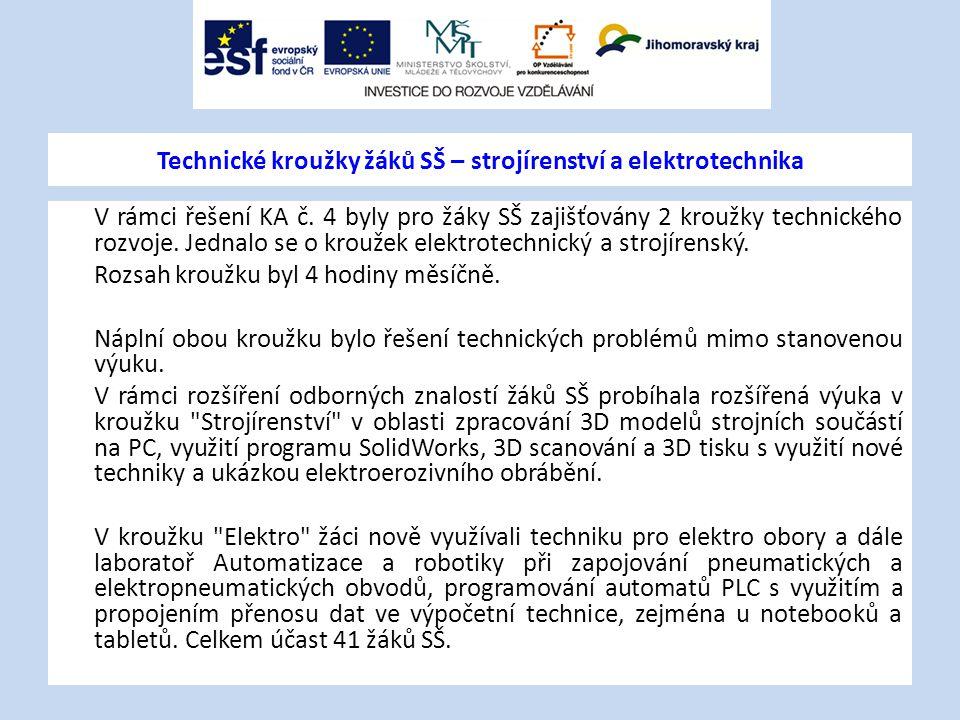 Technické kroužky žáků SŠ – strojírenství a elektrotechnika V rámci řešení KA č. 4 byly pro žáky SŠ zajišťovány 2 kroužky technického rozvoje. Jednalo