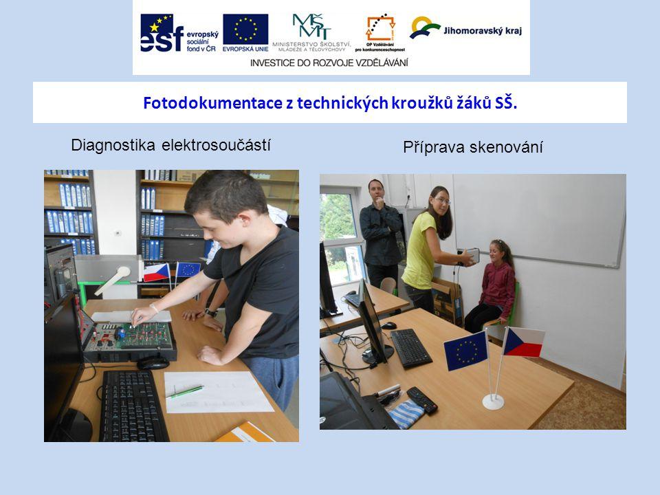 Fotodokumentace z technických kroužků žáků SŠ. Příprava skenování Diagnostika elektrosoučástí