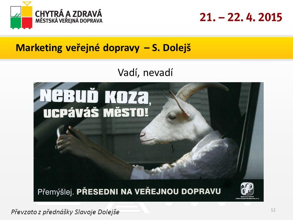 Marketing veřejné dopravy – S. Dolejš 12 Převzato z přednášky Slavoje Dolejše Vadí, nevadí