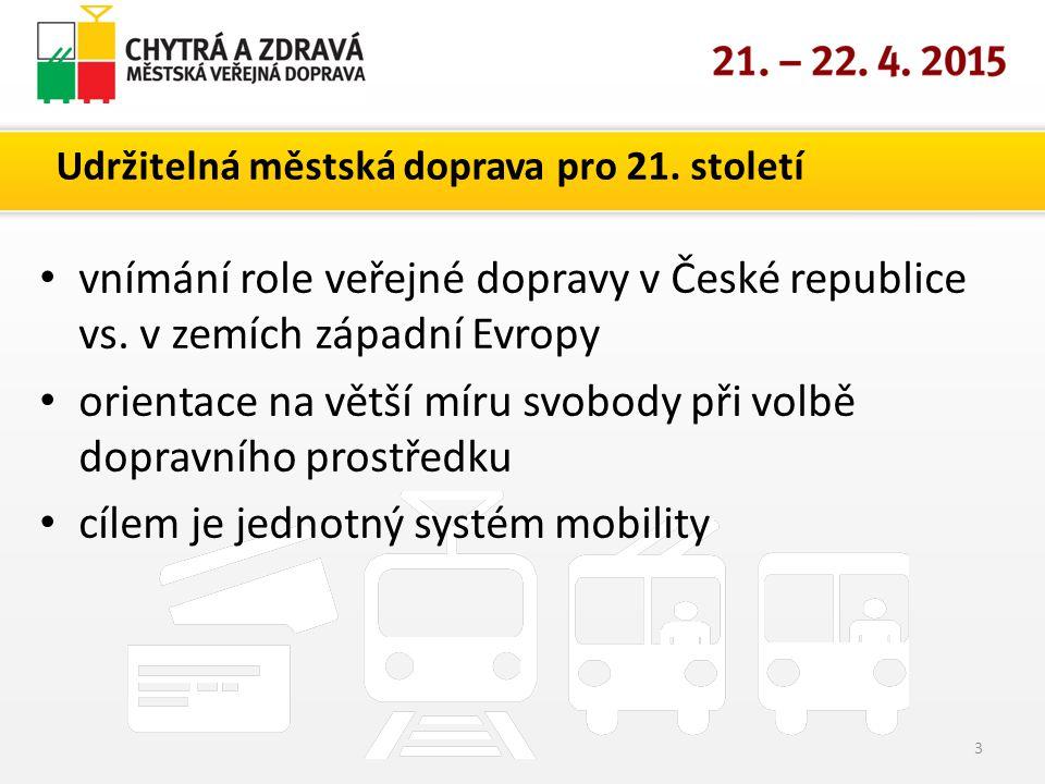 Udržitelná městská doprava pro 21. století vnímání role veřejné dopravy v České republice vs.