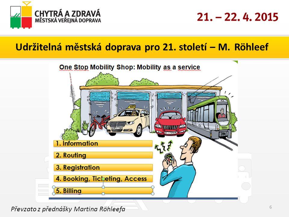 Udržitelná městská doprava pro 21. století – M. Röhleef 6 Převzato z přednášky Martina Röhleefa
