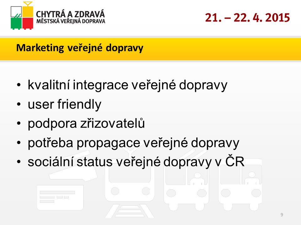 Marketing veřejné dopravy 9 kvalitní integrace veřejné dopravy user friendly podpora zřizovatelů potřeba propagace veřejné dopravy sociální status veřejné dopravy v ČR