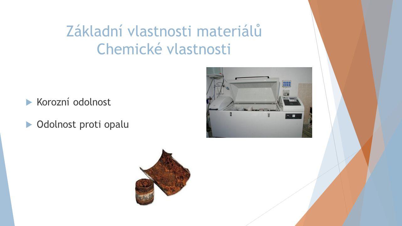 Základní vlastnosti materiálů Chemické vlastnosti  Korozní odolnost  Odolnost proti opalu