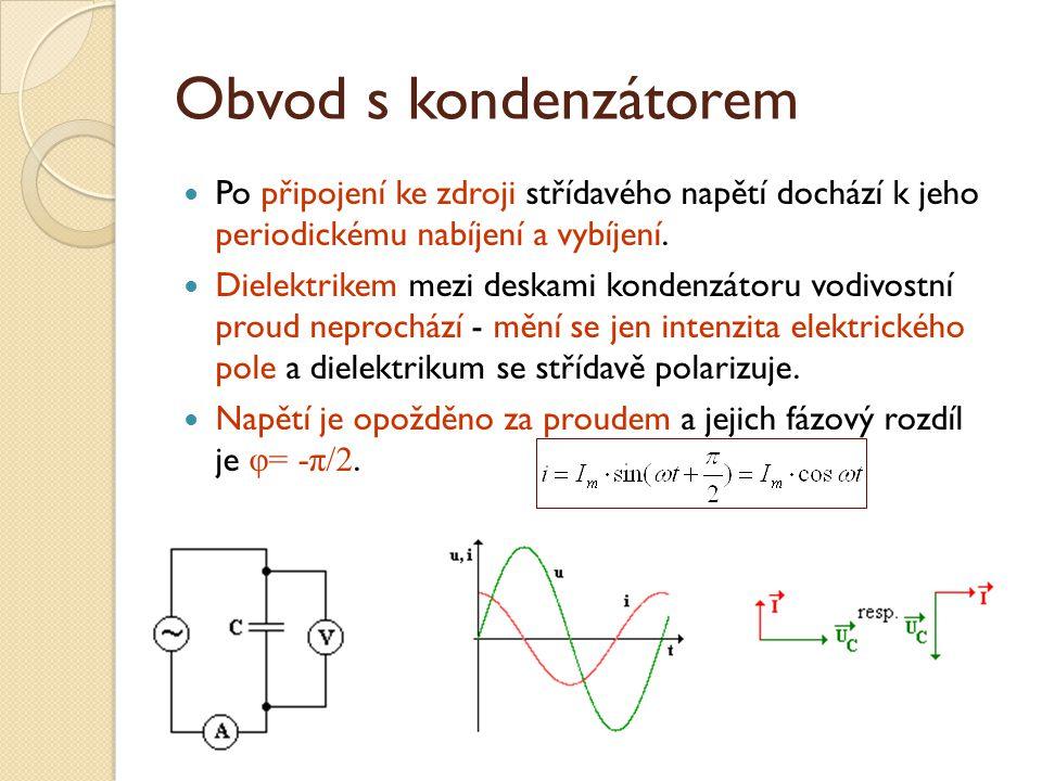 Obvod s kondenzátorem Po připojení ke zdroji střídavého napětí dochází k jeho periodickému nabíjení a vybíjení.