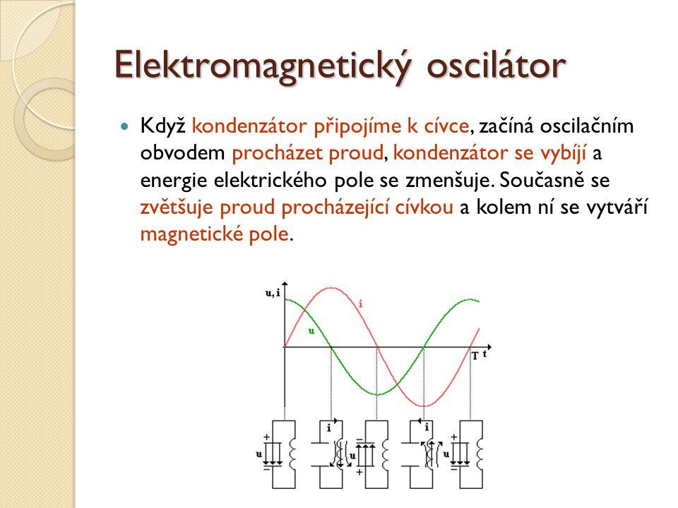 Elektromagnetický oscilátor Když kondenzátor připojíme k cívce, začíná oscilačním obvodem procházet proud, kondenzátor se vybíjí a energie elektrického pole se zmenšuje.