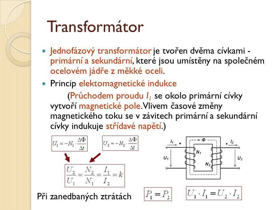 Transformátor Jednofázový transformátor je tvořen dvěma cívkami - primární a sekundární, které jsou umístěny na společném ocelovém jádře z měkké oceli.