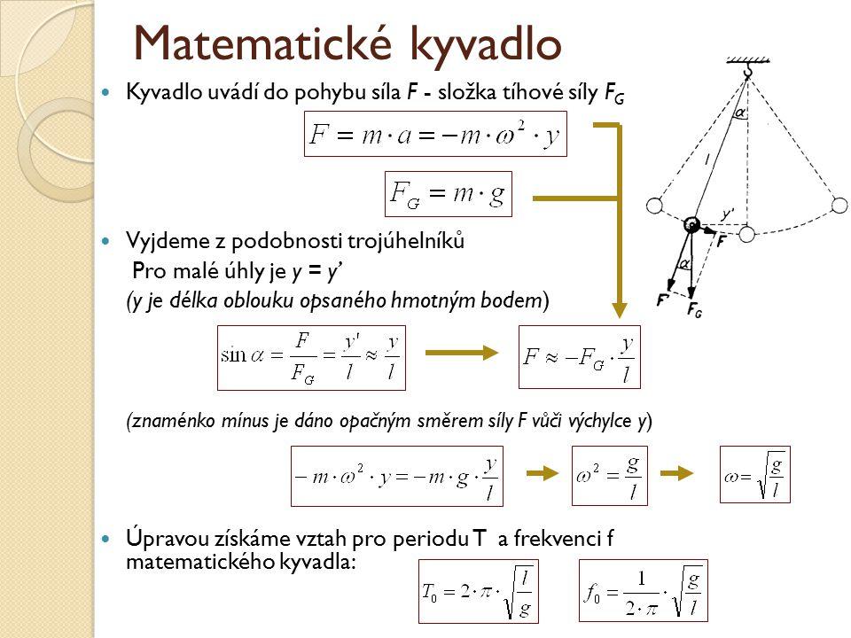 Matematické kyvadlo Kyvadlo uvádí do pohybu síla F - složka tíhové síly F G Vyjdeme z podobnosti trojúhelníků Pro malé úhly je y = y' (y je délka oblouku opsaného hmotným bodem) (znaménko mínus je dáno opačným směrem síly F vůči výchylce y) Úpravou získáme vztah pro periodu T a frekvenci f matematického kyvadla: