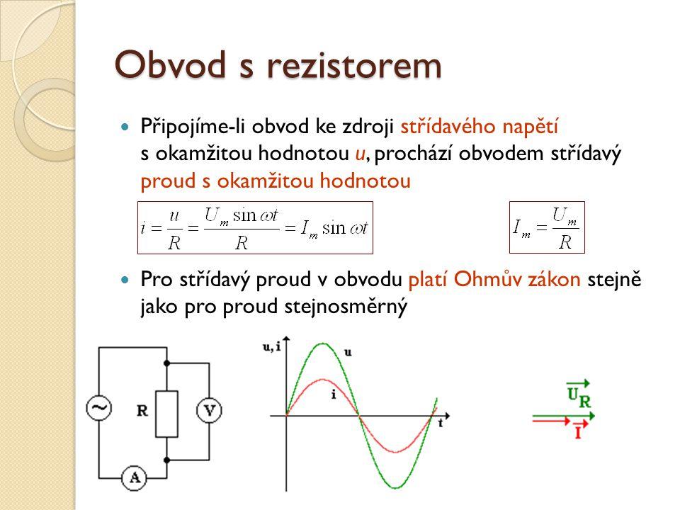 Obvod s rezistorem Připojíme-li obvod ke zdroji střídavého napětí s okamžitou hodnotou u, prochází obvodem střídavý proud s okamžitou hodnotou Pro střídavý proud v obvodu platí Ohmův zákon stejně jako pro proud stejnosměrný