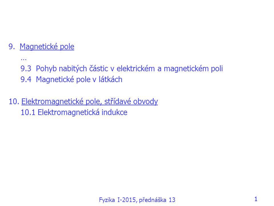 1 9. Magnetické pole … 9.3 Pohyb nabitých částic v elektrickém a magnetickém poli 9.4 Magnetické pole v látkách 10. Elektromagnetické pole, střídavé o