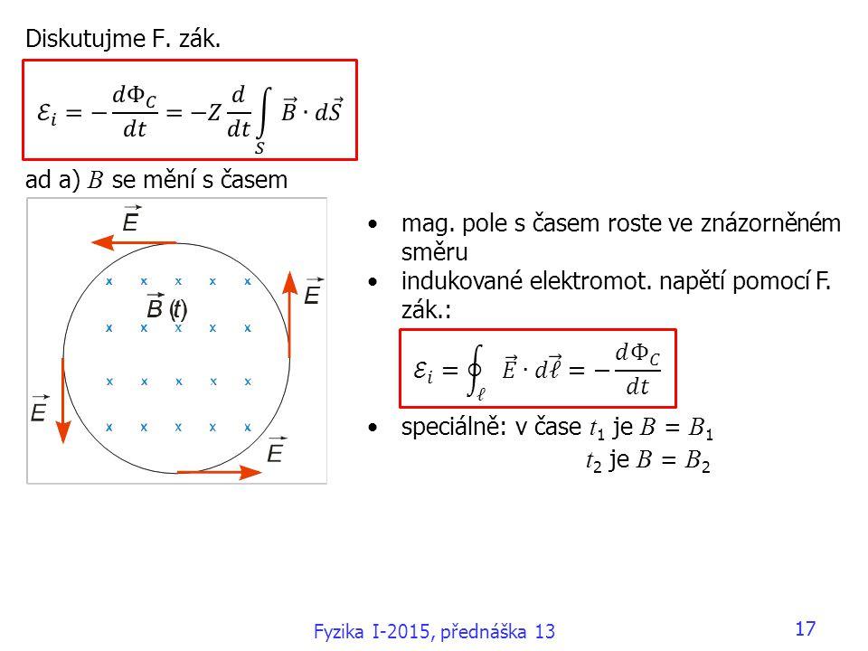 17 Diskutujme F. zák. ad a) B se mění s časem mag. pole s časem roste ve znázorněném směru indukované elektromot. napětí pomocí F. zák.: speciálně: v