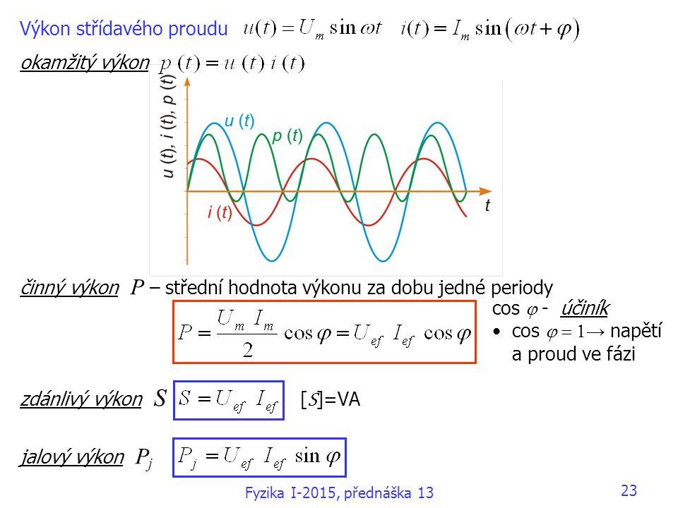 Výkon střídavého proudu okamžitý výkon činný výkon P – střední hodnota výkonu za dobu jedné periody zdánlivý výkon S [ S ]=VA jalový výkon P j cos  - účiník cos  → napětí a proud ve fázi Fyzika I-2015, přednáška 13 23