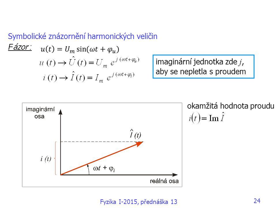 Symbolické znázornění harmonických veličin F ázor : imaginární jednotka zde j, aby se nepletla s proudem okamžitá hodnota proudu Fyzika I-2015, přednáška 13 24