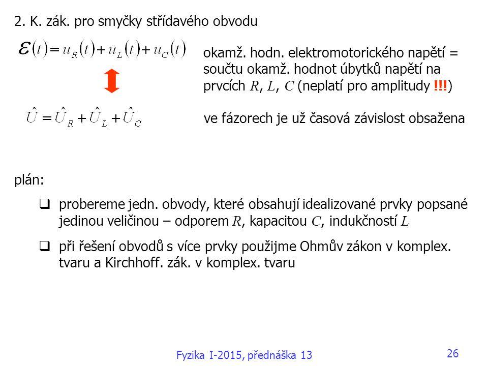 2. K. zák. pro smyčky střídavého obvodu plán:  probereme jedn. obvody, které obsahují idealizované prvky popsané jedinou veličinou – odporem R, kapac
