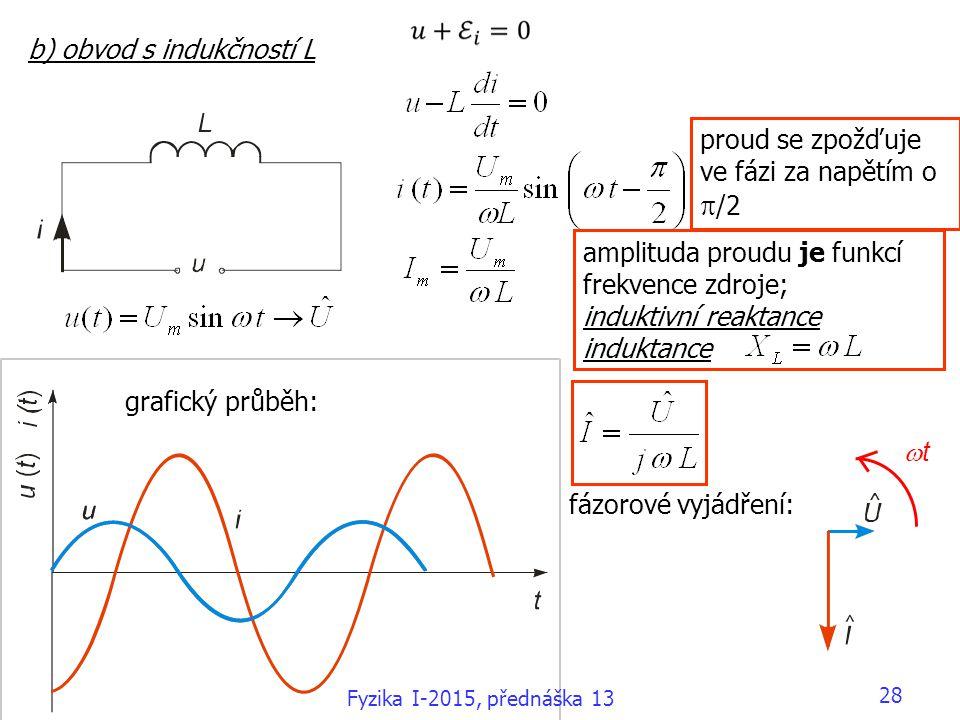 b) obvod s indukčností L amplituda proudu je funkcí frekvence zdroje; induktivní reaktance induktance grafický průběh: fázorové vyjádření: proud se zpožďuje ve fázi za napětím o  /2 tt Fyzika I-2015, přednáška 13 28